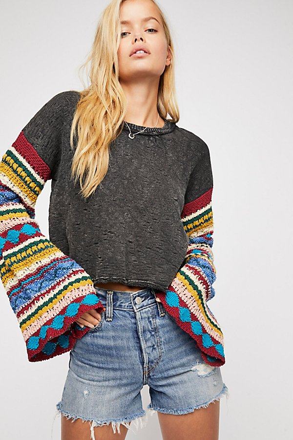 Slide View 2: Crochet Sleeve Pullover