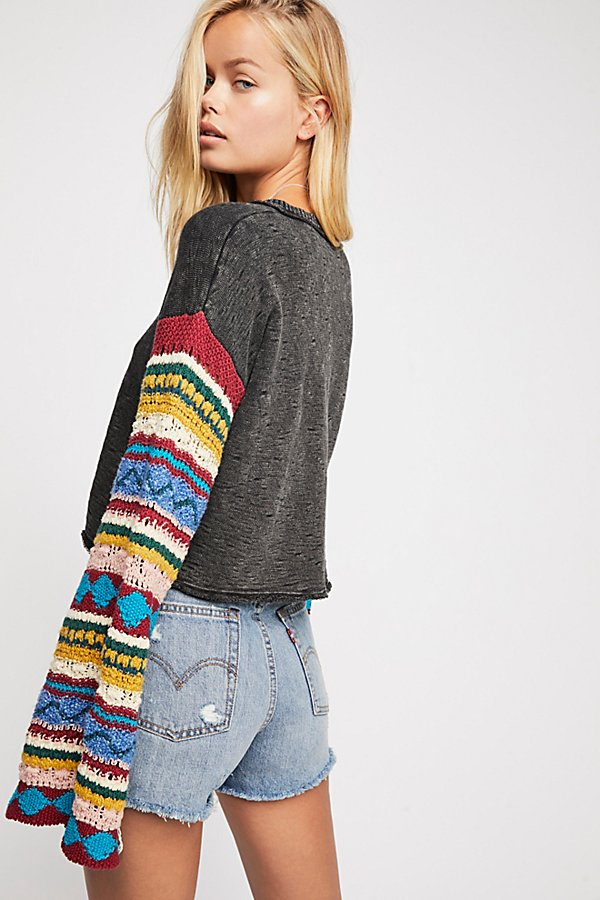 Slide View 3: Crochet Sleeve Pullover