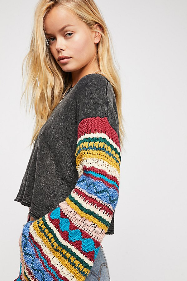 Slide View 4: Crochet Sleeve Pullover