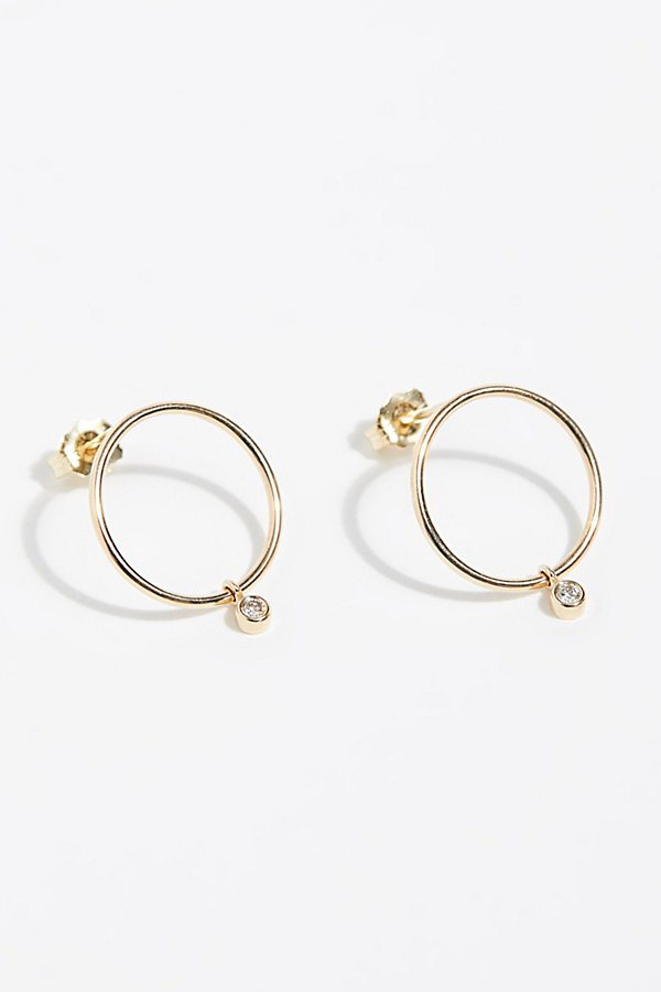 Slide View 1: 14k Diamond Front Hoop Earrings