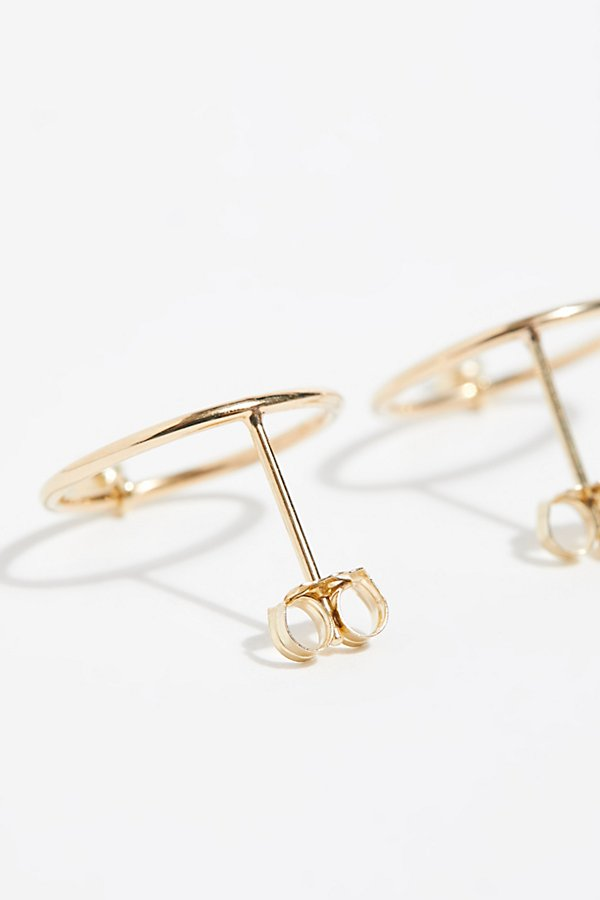 Slide View 3: 14k Diamond Front Hoop Earrings