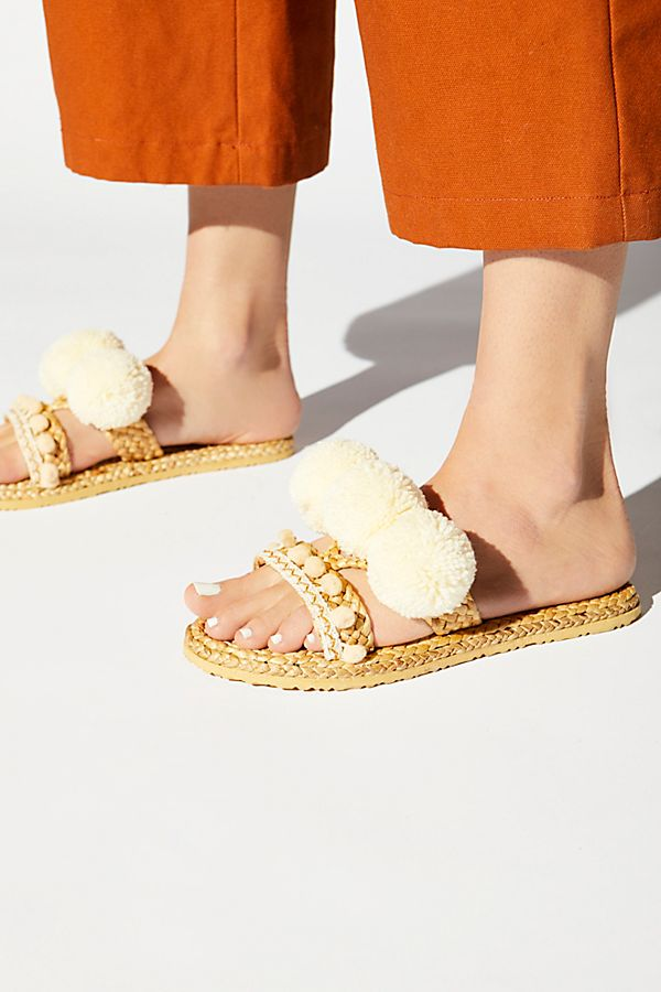 Cute Woven Pom Pom Sandals