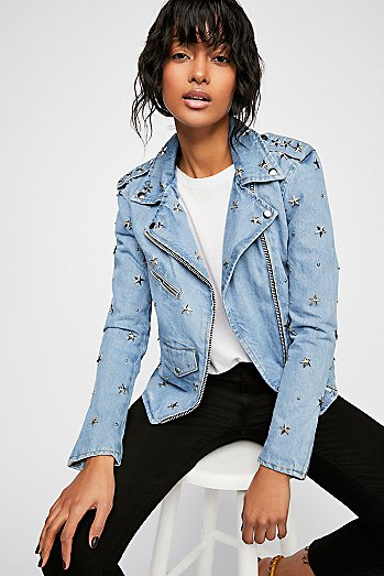 Denim Star Studded Moto Jacket