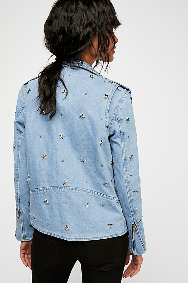 Slide View 2: Denim Star Studded Moto Jacket