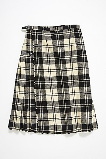 Vintage Plaid Wool Skirt