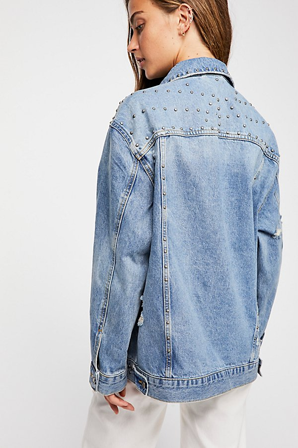 Slide View 2: Studded Denim Trucker Jacket