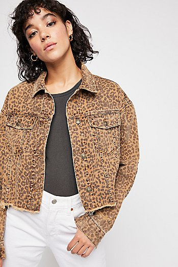 Cropped Leopard Denim Jacket
