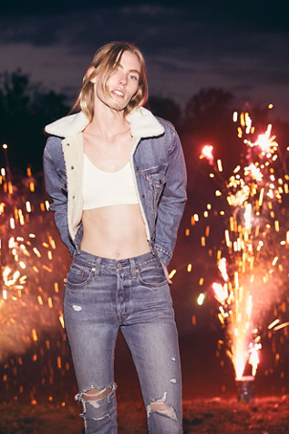 Levi's Cropped Sherpa Trucker Jacket by Free People