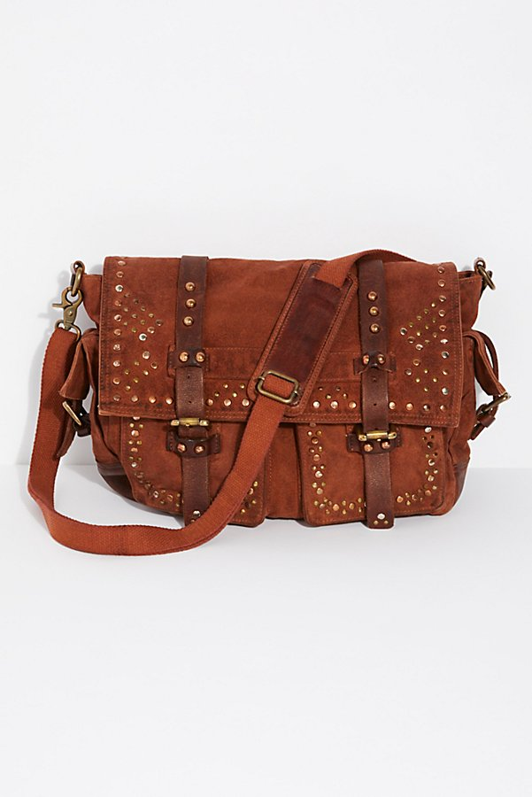 Slide View 2: Studded Distressed Messenger Bag
