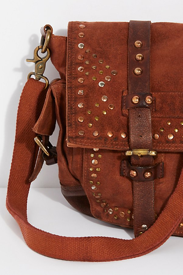 Slide View 3: Studded Distressed Messenger Bag