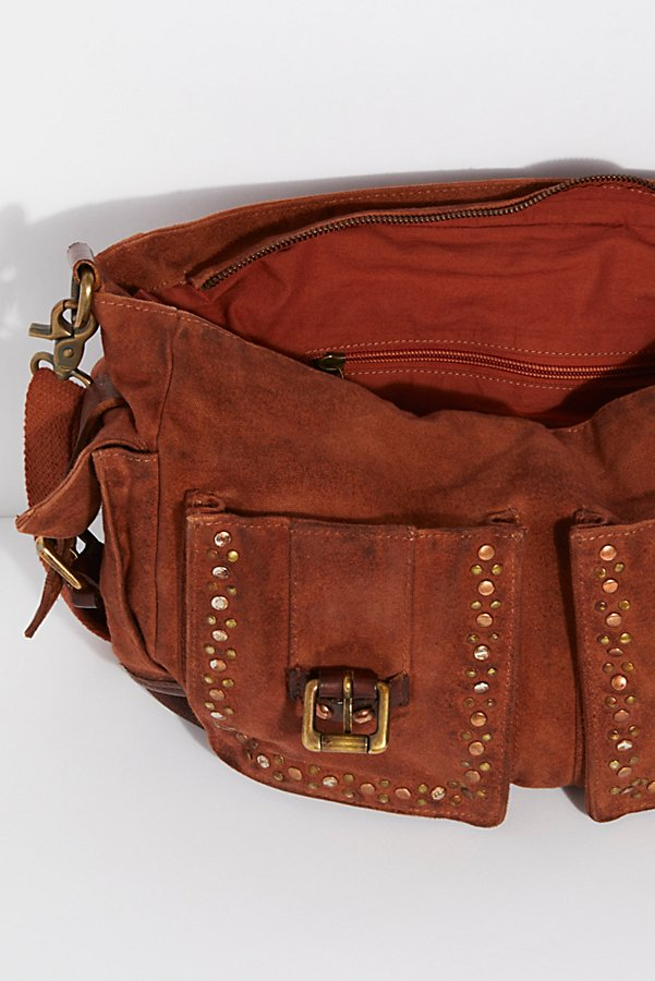 Slide View 6: Studded Distressed Messenger Bag