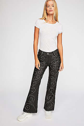 Studded Leather Flare Pants