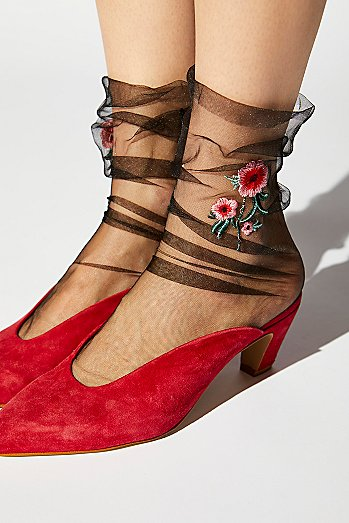 Embroidered Sheer Anklet