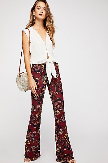 Pull On Corduroy Printed Flares