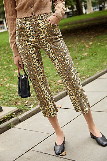 MINKPINK Mid-Rise Leopard Cropped Jeans