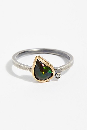 Black Opal Diamond Ring