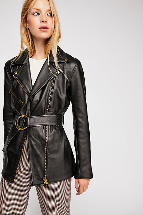 Slide View 4: Cinched Waist Leather Tie Jacket