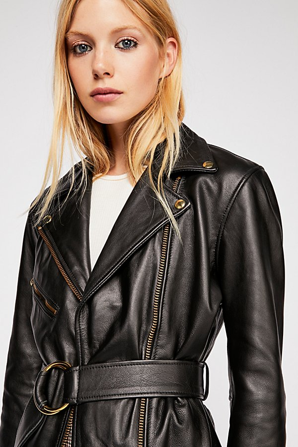 Slide View 3: Cinched Waist Leather Tie Jacket