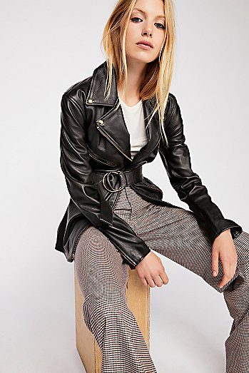 Cinched Waist Leather Tie Jacket