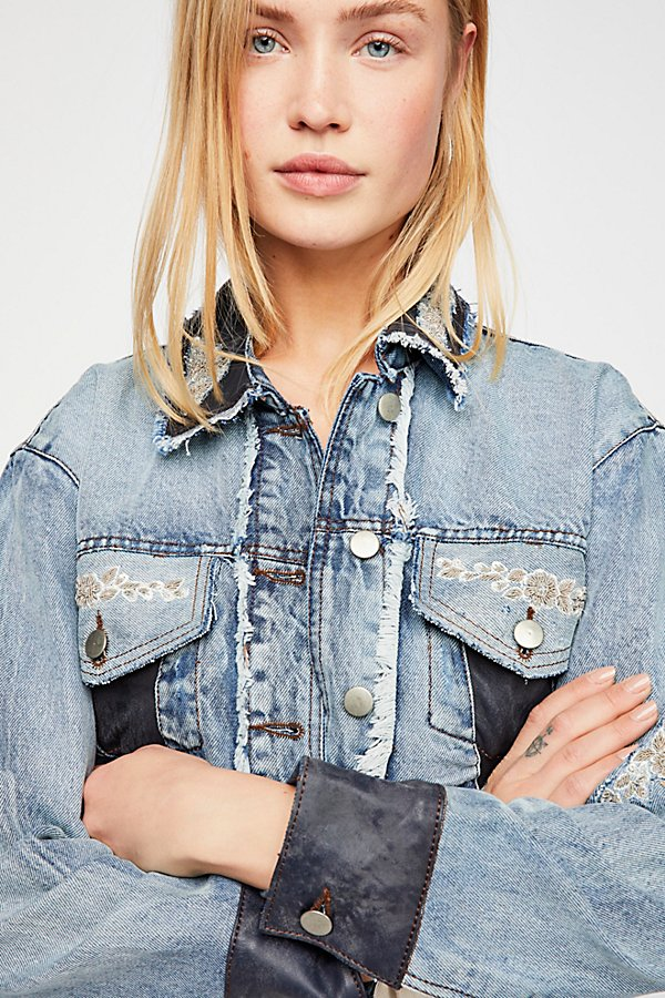 Slide View 3: Lola Embroidered Cropped Jean Jacket