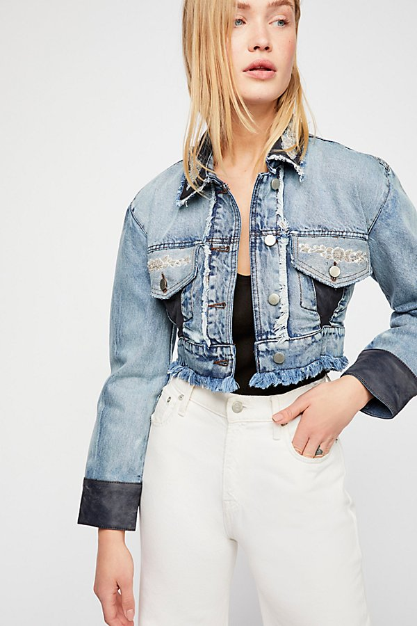 Slide View 1: Lola Embroidered Cropped Jean Jacket