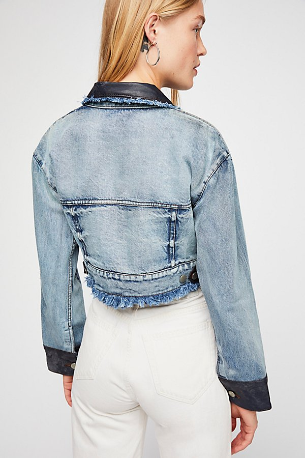 Slide View 2: Lola Embroidered Cropped Jean Jacket