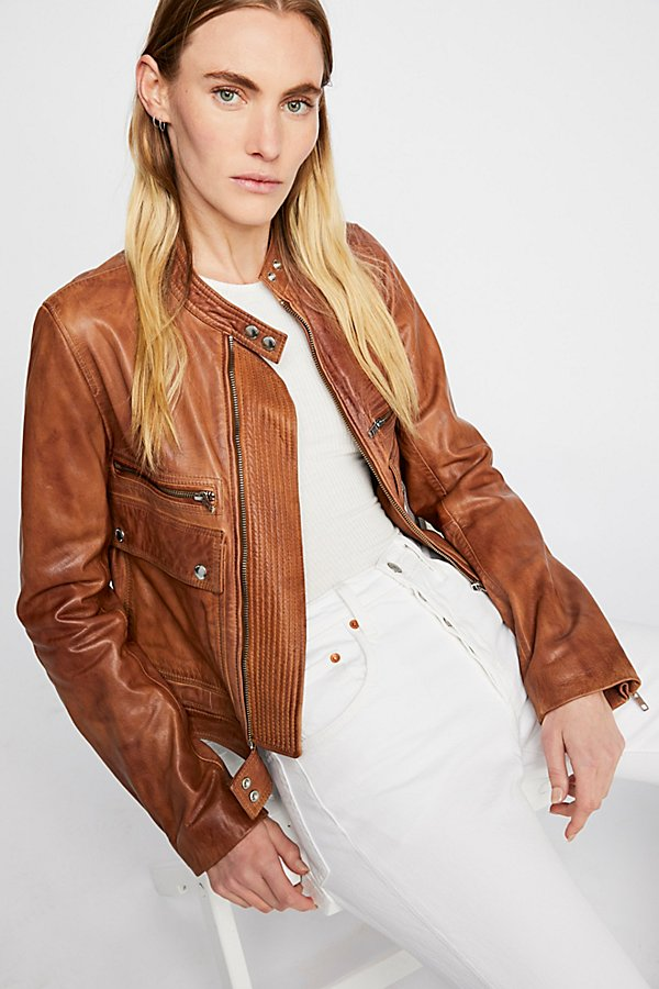 Slide View 2: Love Aviator Leather Jacket