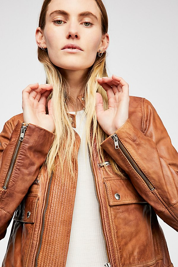 Slide View 4: Love Aviator Leather Jacket