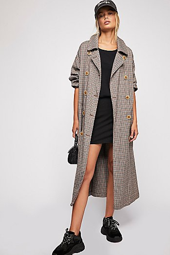 Melody Plaid Trench Coat