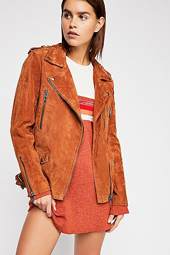 Long Suede Moto Jacket