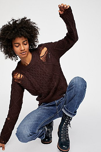 Jolene Destroyed Cable Sweater