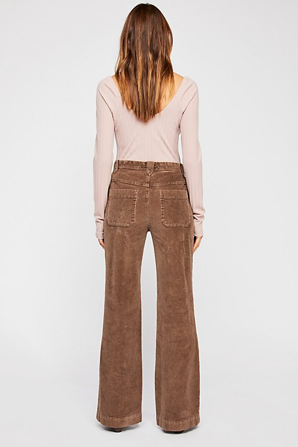 Slide View 2: Hip-Hugging Flare Cord Trousers