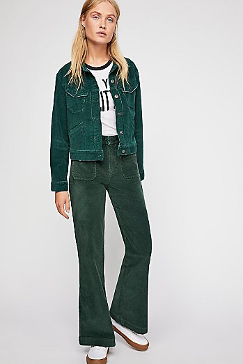 Hip-Hugging Flare Cord Trousers
