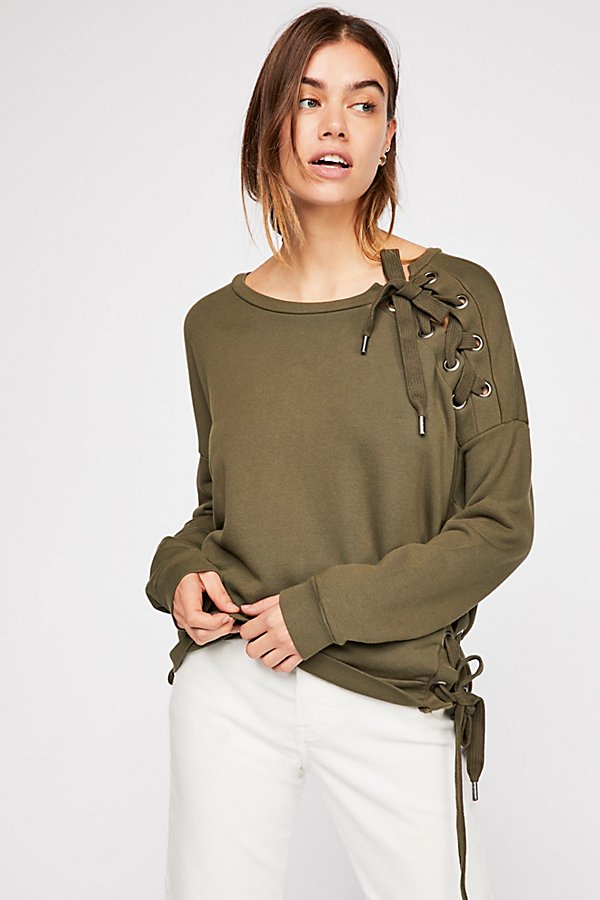 Slide View 1: Rozanne Lace-up Sweatshirt