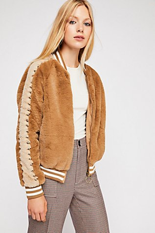 Slide View 1: Letterman Fur Jacket
