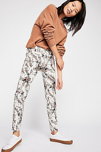 High-Rise Long And Lean Printed Cord Trousers