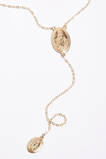 Rosary Drop Lariat Necklace