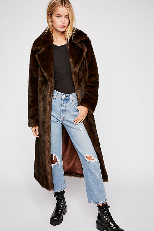 Slide View 1: Long Faux Fur Mac Coat
