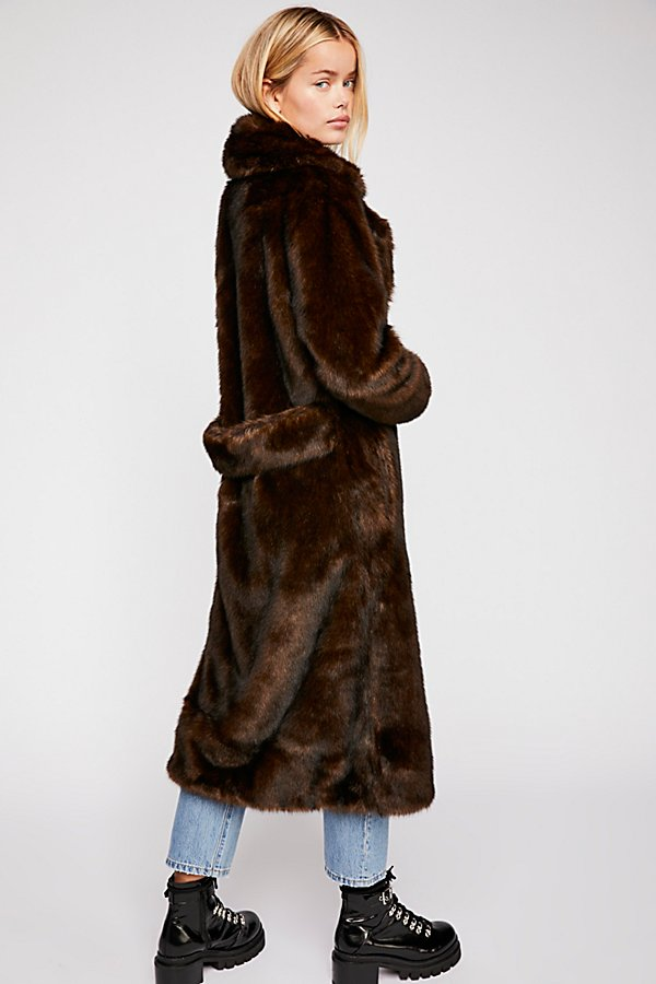 Slide View 2: Long Faux Fur Mac Coat
