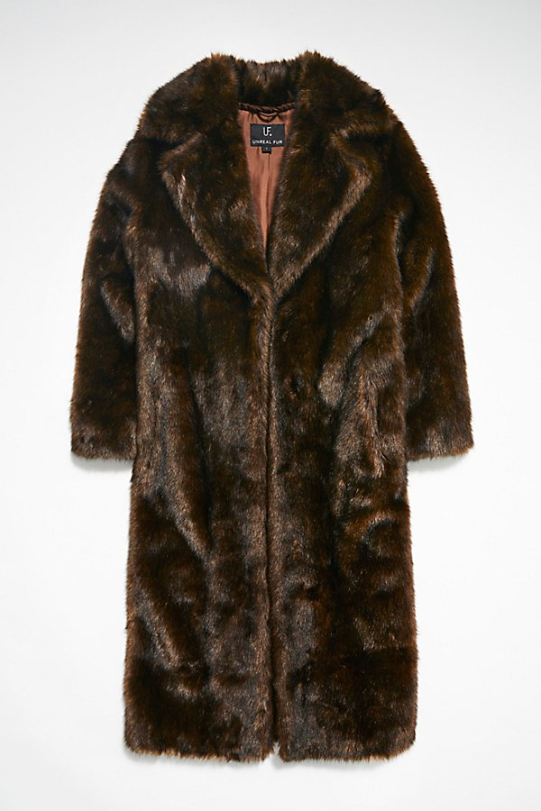 Slide View 4: Long Faux Fur Mac Coat