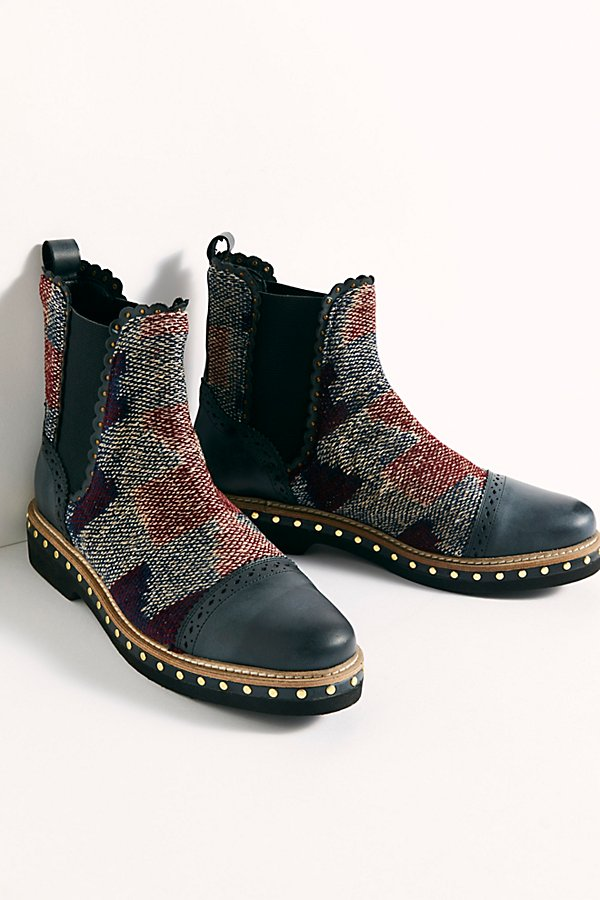 Make a statement in these so cool Chelsea boots featuring a textile design with a patent leather toe and heel* Studded sole* Pull-on style* Elastic side accents