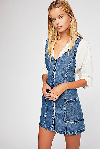 Pearl Denim Pinafore Dress