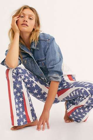 Penny Pull On Stars & Stripes Flare Jeans by Free People