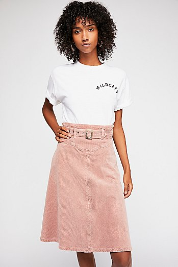 Belt It Up Cord Midi Skirt