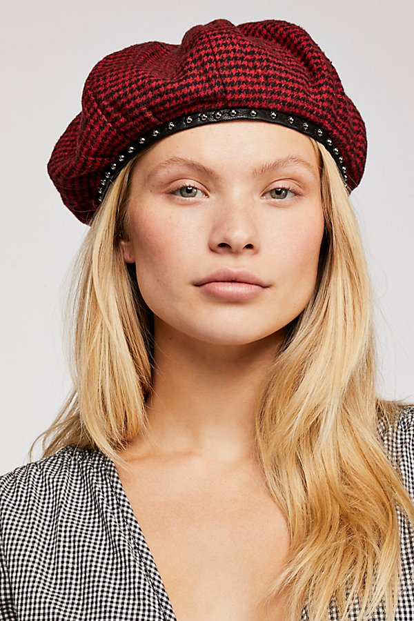 Slide View 1: Alice Studded Houndstooth Beret