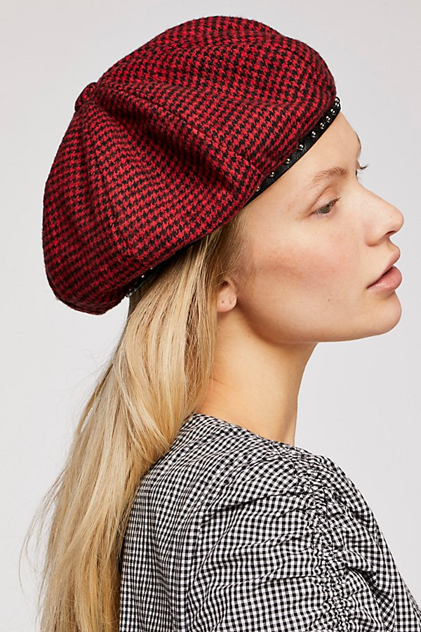 Slide View 3: Alice Studded Houndstooth Beret