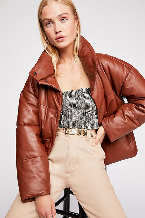 Slide View 1: Leather Puffer Jacket