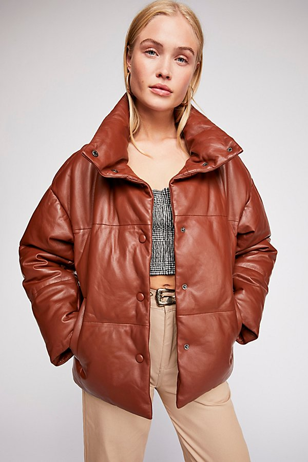 Slide View 2: Leather Puffer Jacket