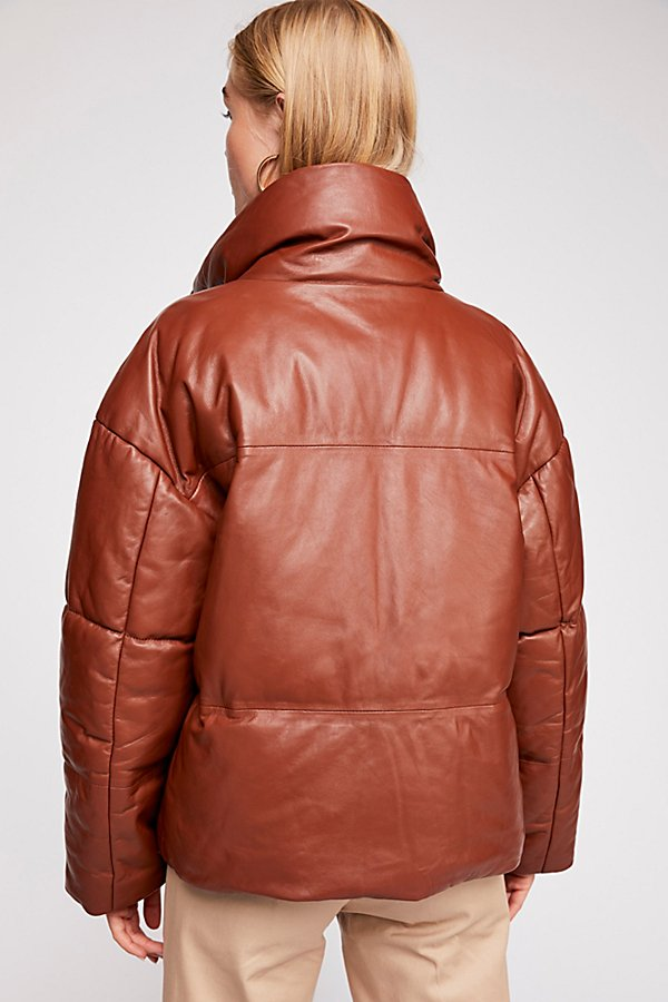 Slide View 3: Leather Puffer Jacket