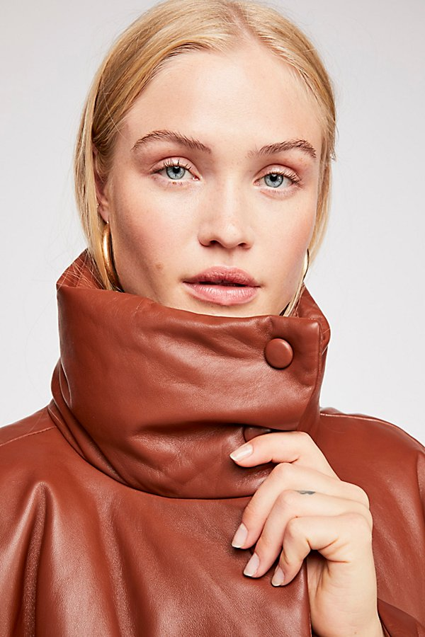 Slide View 4: Leather Puffer Jacket